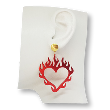 Load image into Gallery viewer, Flame heart earrings