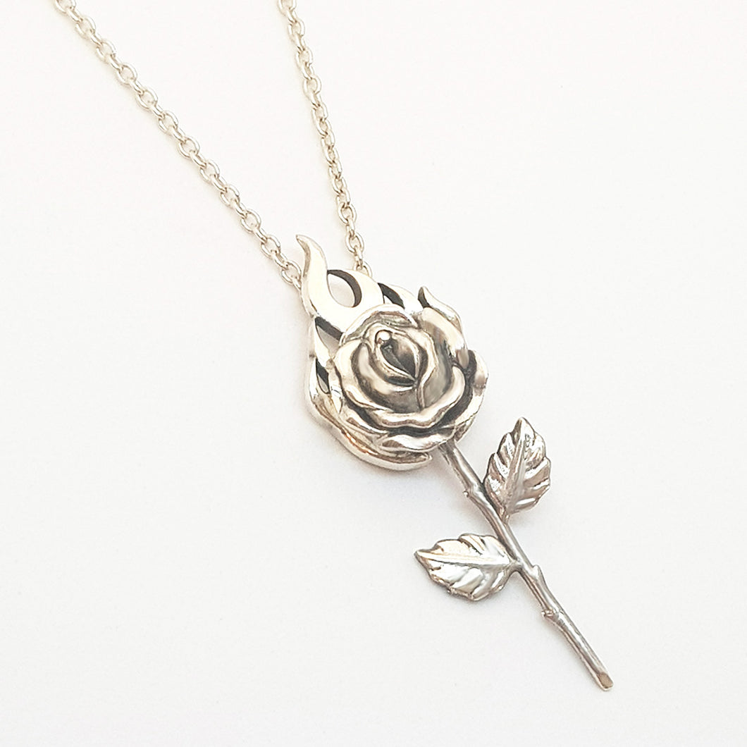 Silver Rose on Fire  Necklace