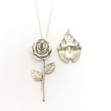 Load image into Gallery viewer, Silver Rose on Fire  Necklace