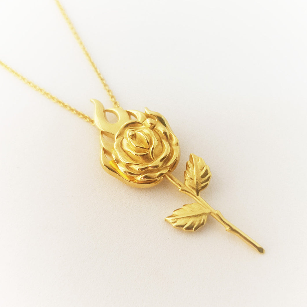 Gold Plated Burning Rose Necklace