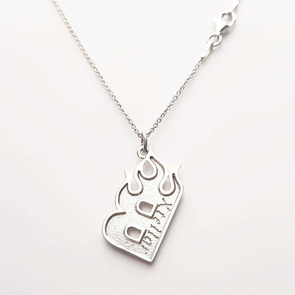Flame Letter Necklace Silver