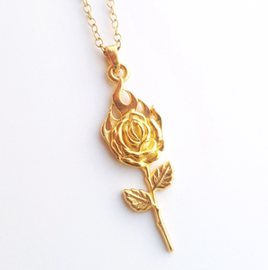 Mini Rose on Fire  Necklace