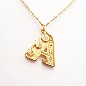 Flame Letter Necklace