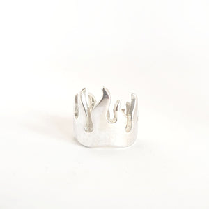 Silver Flames Ring