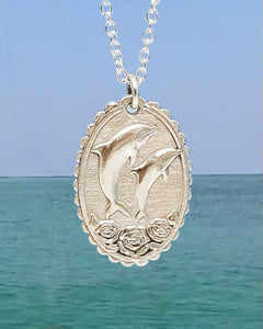 Dolphins & Roses Devotional Necklace
