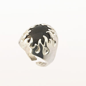 Silver and Onix Flames Ring