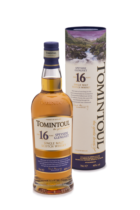 TOMINTOUL 16YR OLD SPEYSIDE GLENLIVET SINGLE MALT SCOTCH WHISKY 700ML