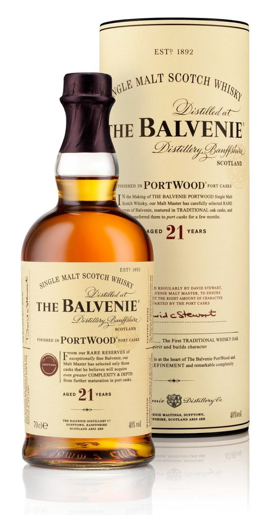 THE BALVENIE 21 YEAR OLD PORT WOOD SPEYSIDE SINGLE MALT