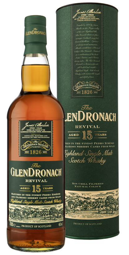 THE GLENDRONACH REVIVAL 15 YR OLD SINGLE MALT HIGHLAND WHISKY 46%