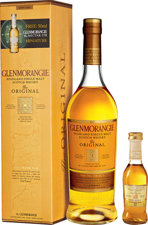GLENMORANGIE 10 YEAR OLD HIGHLAND SINGLE MALT GIFT BOX WITH BONUS NECTAR D'OR 50ML MINIATURE