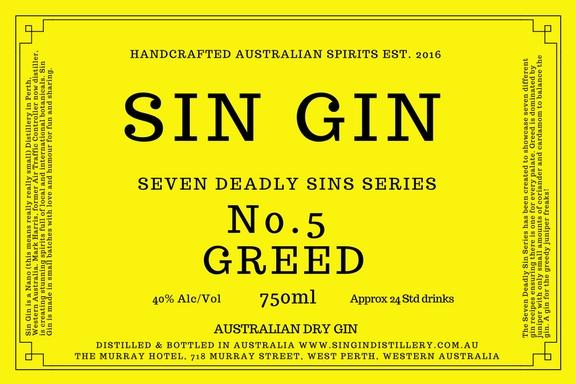 "SIN GIN No.5 ""GREED"" LONDON DRY GIN 750ML"