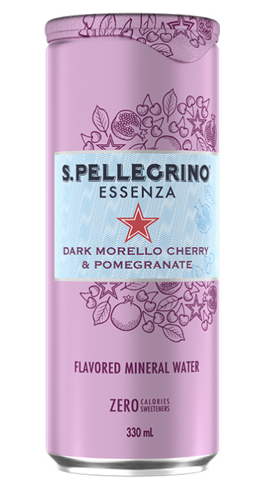 SAN PELLEGRINO ZERO DARK MORELLO CHERRY & POMEGRANATE MINERAL WATER 330ML X 24