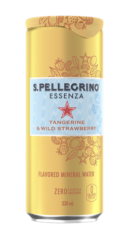 SAN PELLEGRINO ZERO TANGERINE & WILD STRAWBERRY MINERAL WATER 330ML X 24