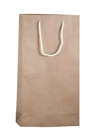 DOUBLE BROWN STRIPE BOTTLE BAG