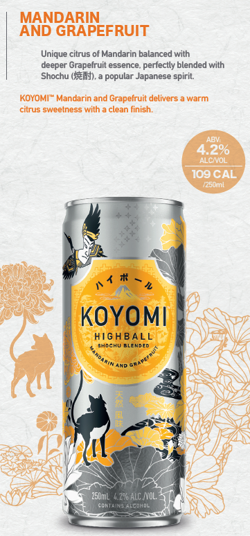 KOYOMI MANDARIN AND GRAPEFRUIT SHOCHU HIGHBALL 250ML X 24
