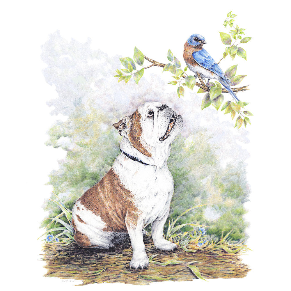 Bulldog Puppy with Bluebird Limited-Edition Print