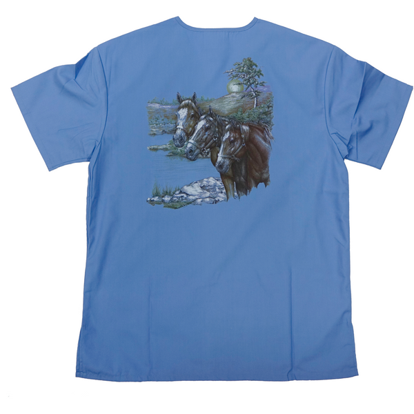 Customizable Medical/Veterinary Scrub Tops with Wildlife Art in Ceil Blue