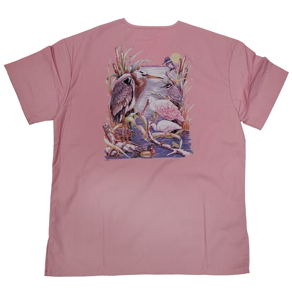 Customizable Medical/Veterinary Scrub Tops with Wildlife Art in Dusty Rose