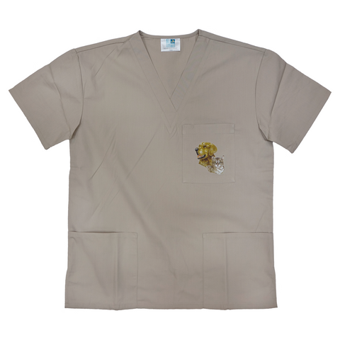 Customizable Medical/Veterinary Scrub Tops with Wildlife Art in Khaki