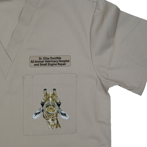 Customizable Medical/Veterinary Scrub Tops with Wildlife Art and Personalization