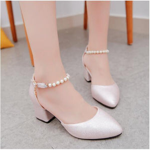 2018 Women Shoes Pointed Toe Pumps  Dress Shoes High Heels Boat Shoes Wedding Shoes tenis feminino String Bead  Side with  01