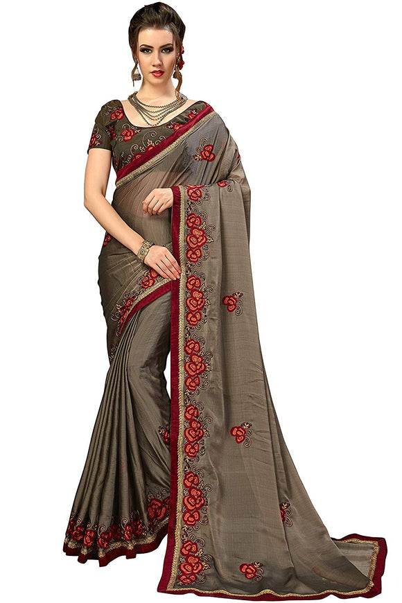 Glory Sarees Women's Chiffon Saree With Blouse Piece (luxury114_grey)