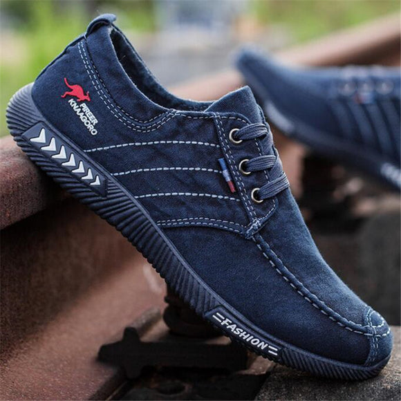 ELGEER New canvas shoes deodorant breathable men's shoes tide shoes non-slip male students tie casual stripes men shoes