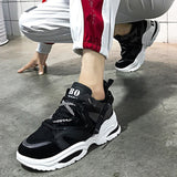 Fashion 2019 Harajuku Women Casual Shoes Lace-Up Leather Dad Chunky Sneakers Flat Thick Sole Tenis Wedge White Basket Walking