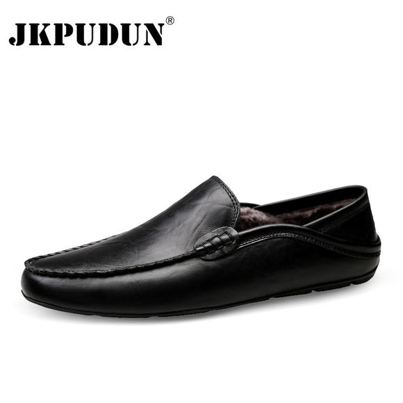 JKPUDUN Italian Mens Shoes Casual Luxury Brand Winter Warm Men Loafers Genuine Leather Moccasins Breathable Slip on Boat Shoes