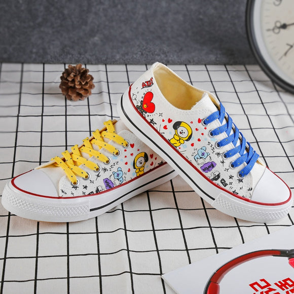 KPOP BTS Bangtan Boys BT21 Low Tops Shoes JUNG KOOK JIMIN V Suga Women Casual Shoes Ship From US Dropping Shipping