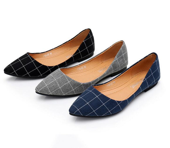 NEW 2018 spring and summer fashion shoes cloth shoes shoes Plaid pointed soft bottom shoes students T69