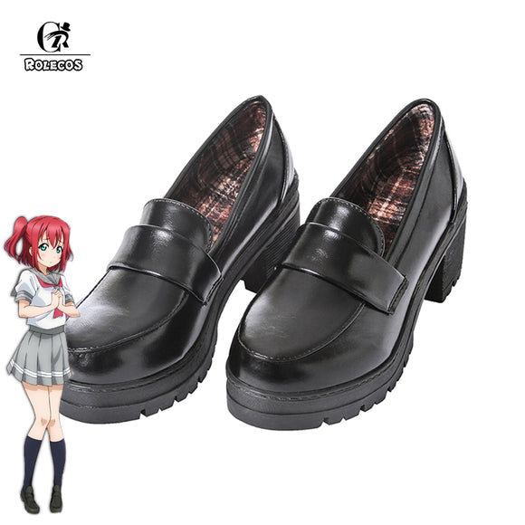 ROLECOS Japanese Anime Love Live Sunshine Cosplay Shoes Takami Chika Girls JK Shoes Love Live Aqours School Uniform Shoes