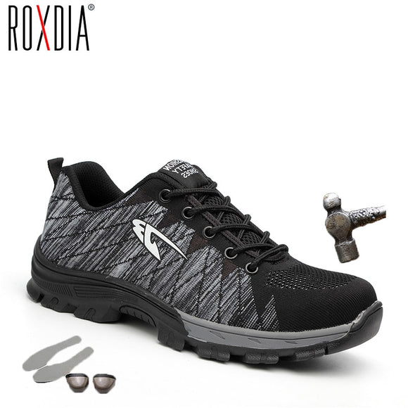 ROXDIA brand steel toecap women men work & safety boots steel mid sole impact resistant soft male shoes plus size 39-48 RXM106