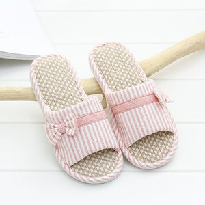 STONE VILLAGE Summer Striped Butterfly-Knot Cotton Flax Slippers Lovers Men Women Slippers Indoor Home Slippers Shoes Women