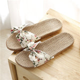 Suihyung New Women Summer Beach Slippers Breathable Linen Flip Flops Female Casual Flat Flax Sandals Floral Bow Indoor Shoes