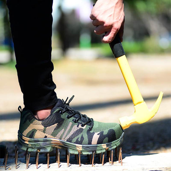 Weweya Man Big Size Piercing Outdoor Shoes Men Steel Toe Cap Military Safety Work Boots Camouflage Puncture Indestructible Shoes