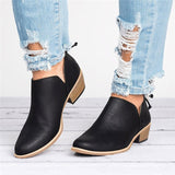 Women Shoes Fashion Ankle Solid Leather Martin Boots Short Boots Pointed solid Martin boots single shoes Autumn