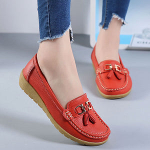 Women shoes 2018 summer mother shoes woman flats soft bottom genuine leather ladies shoes ballet flat shoes sneakers njk98