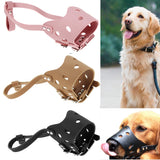 Adjustable Dog Muzzle Anti Bite Chew Leather