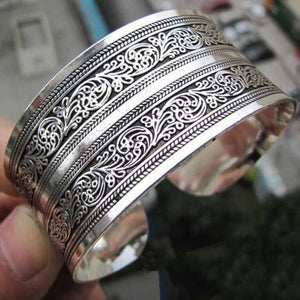 Tibetan Tibet Totem Bangle Jewelry Retro Cuff Wide Bracelet Bangle