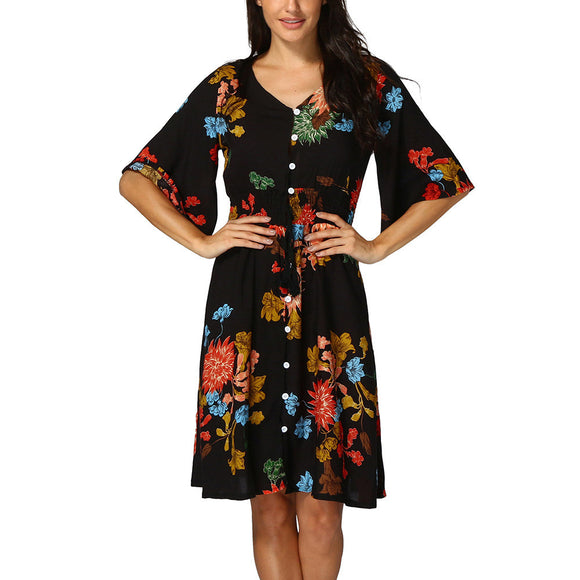 Women's Boho Button UP Split Floral