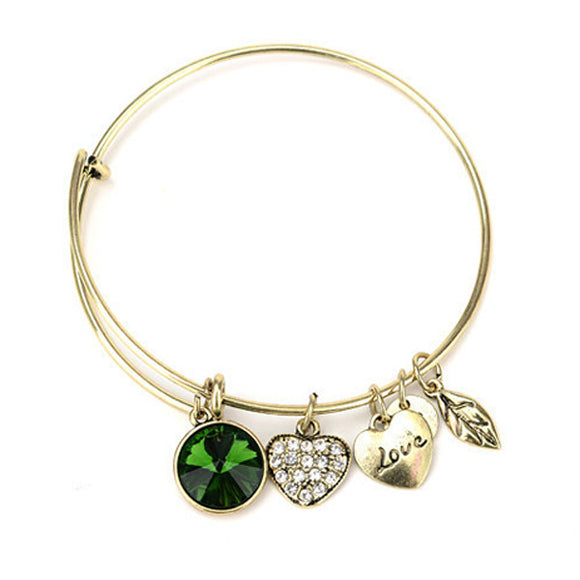 May Birthstone Charm Bangle For Women