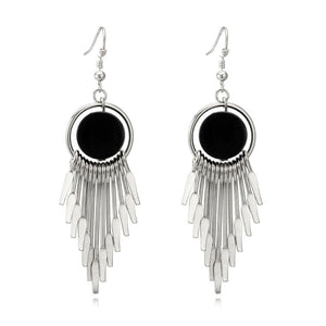 Earrings Round Hanging Stylish Long Tassel