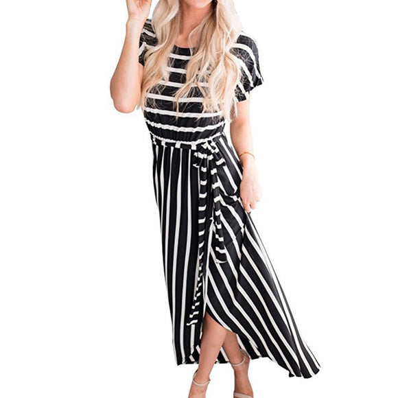 Women's Striped Front Slit Long Dress