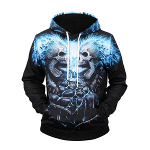 Fashion skull hip hop all size men's hoodie