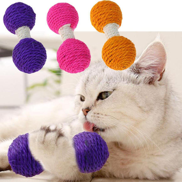 1PC Cat Hemp Dumbbell Scratching Toy