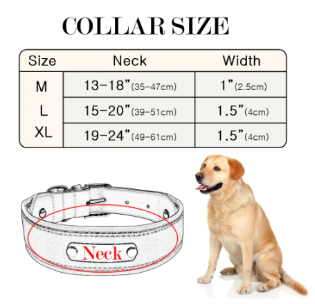 Sizetable for the custom leather dog collar