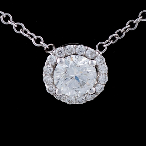 18kt Diamond & White Gold Halo Pendant