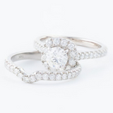 14kt Diamond Engagement Ring With Matching Diamond Band