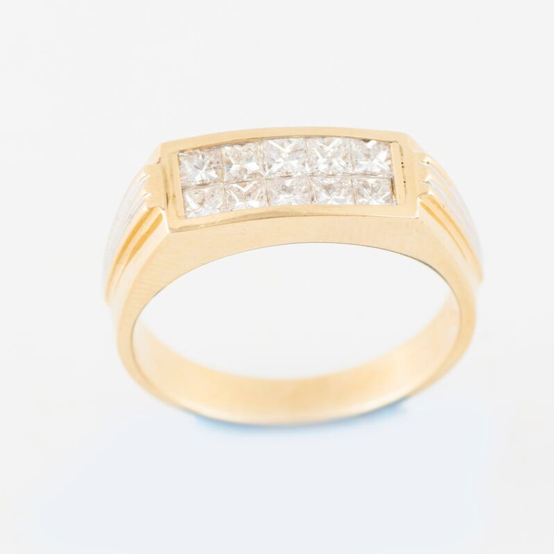 Mens 14k Diamond & Yellow Gold Ring 1.30ct